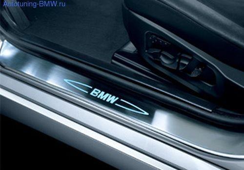 Накладки на пороги дверей с подсветкой для BMW E90/E91 3-серия